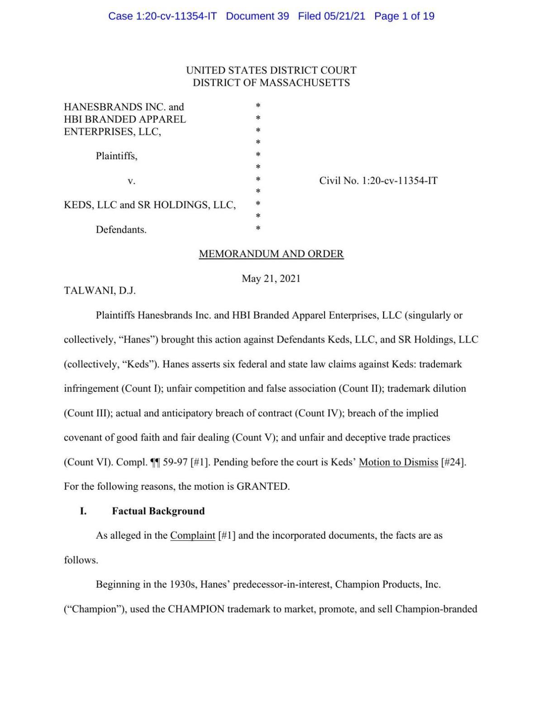 Hanesbrands-Keds lawsuit verdict 5-21-21
