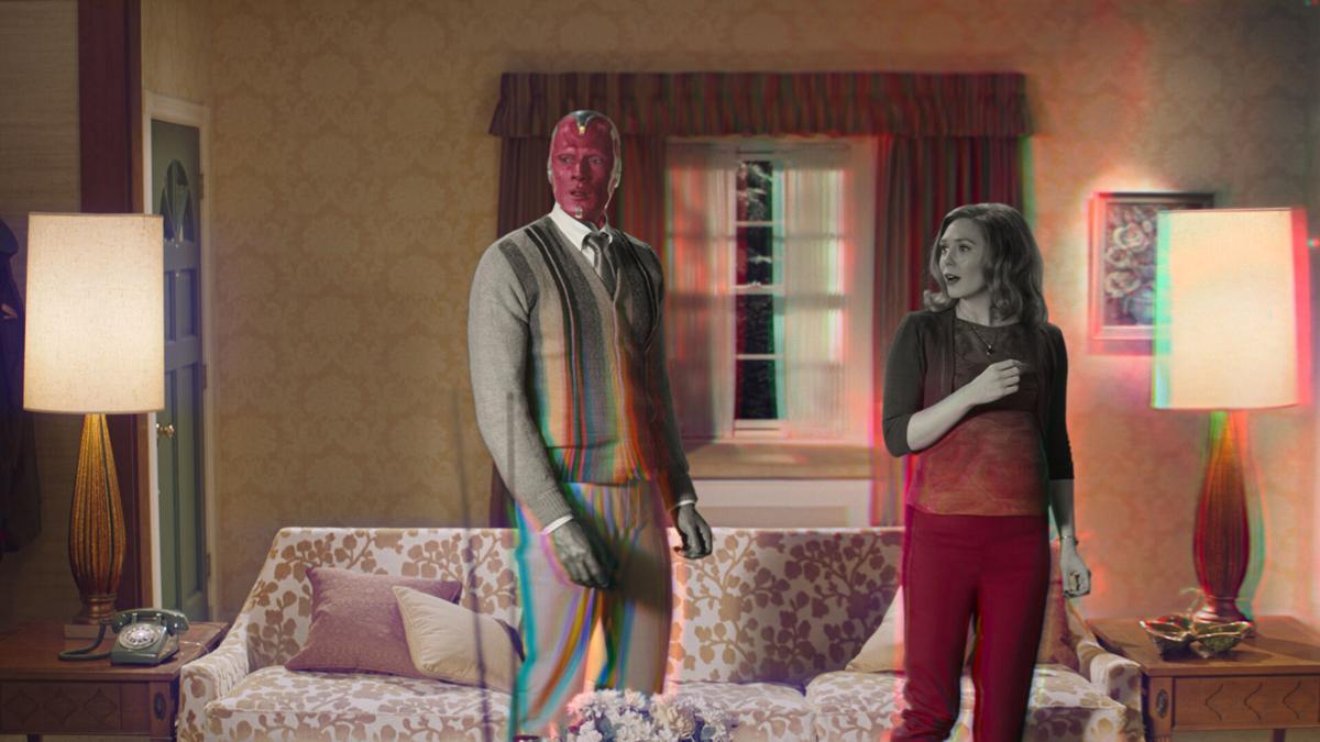 "Paul Bettany and Elizabeth Olsen in ""WandaVision."""