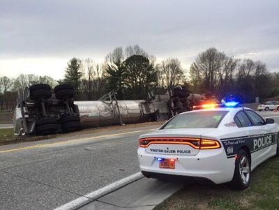 Overturned truck slows interstate traffic in Winston-Salem