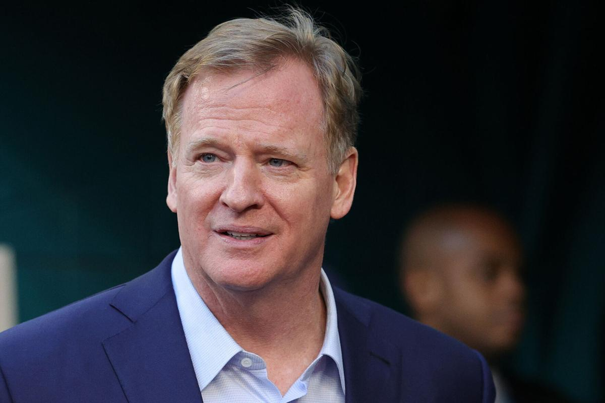 NFL Commissioner Roger Goodell looks on before Super Bowl LIV between the Kansas City Chiefs and the San Francisco 49 ers at Hard Rock Stadium on Feb. 2, 2020 in Miami, Florida.
