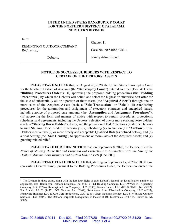 Remington bankruptcy filing buyers