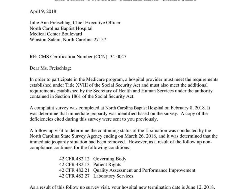 CMS letter to Wake Forest Baptist | | journalnow.com