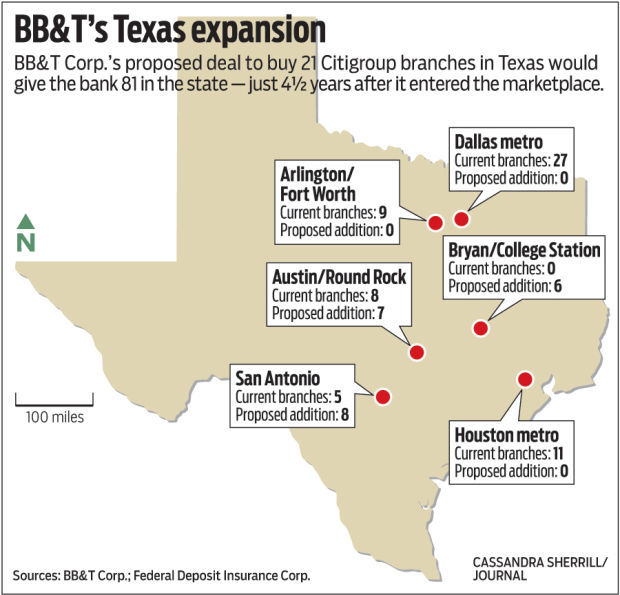 Bb Amp T Acquires 21 Citigroup Branches In Texas Local Business Journalnow Com