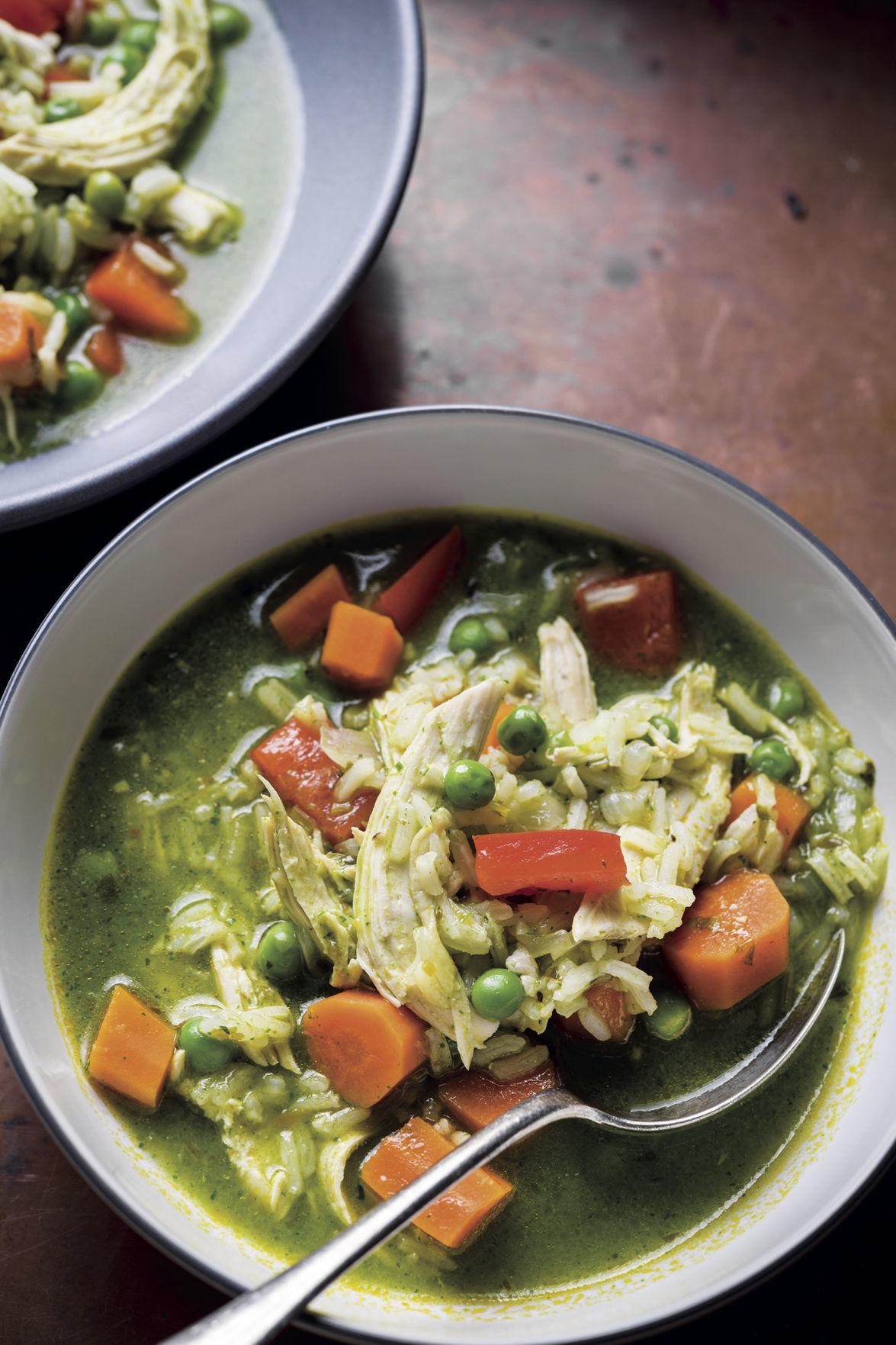 Peruvian Chicken Rice and Cilantro Soup