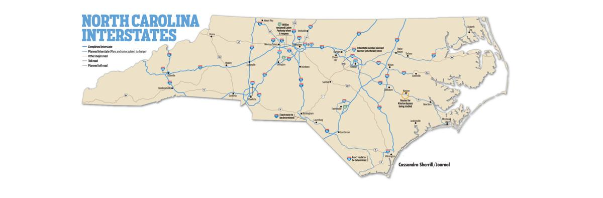 Map: North Carolina Interstates