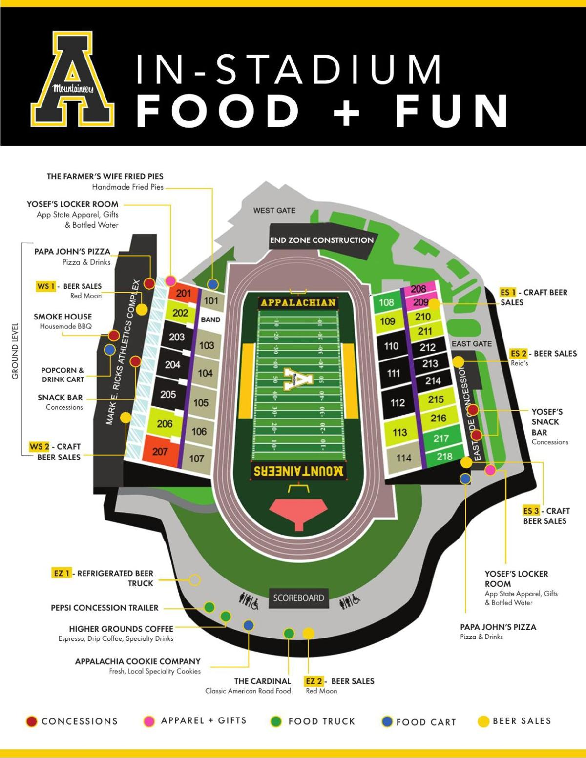 Alcohol sale locations in Kidd Brewer Stadium