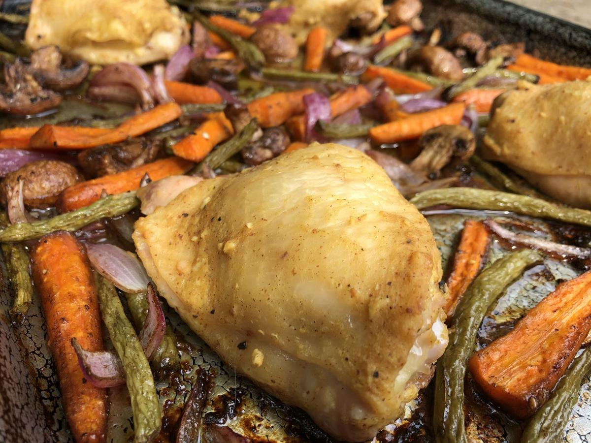 Sheet Pan Dijon Chicken with Balsamic Vegetables