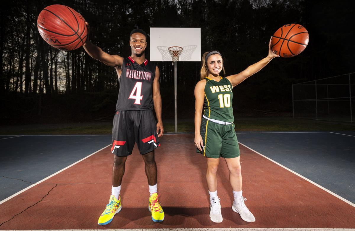c6651e77415e Walkertown s Jalen Cone and West Forsyth s Callie Scheier stand for a  portrait on Tuesday