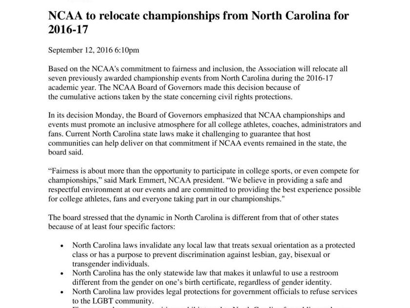 NCAA statement on North Carolina championships