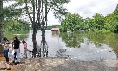 Flooding at reservoir