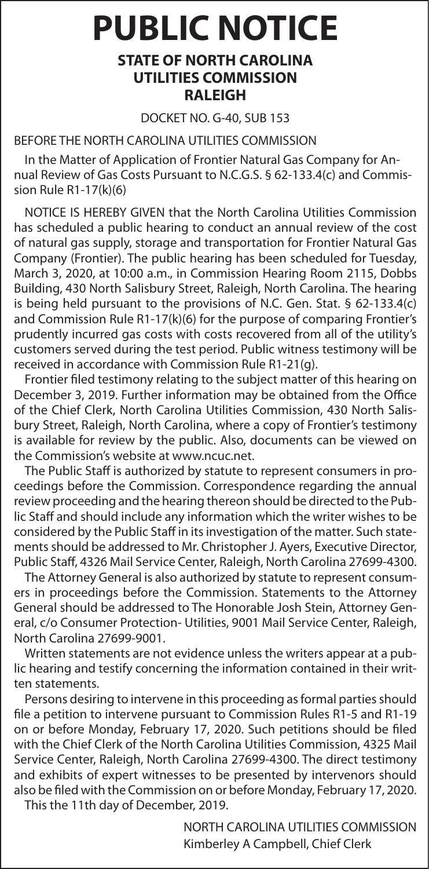 PUBLIC NOTICE - FRONTIER NATURAL GAS