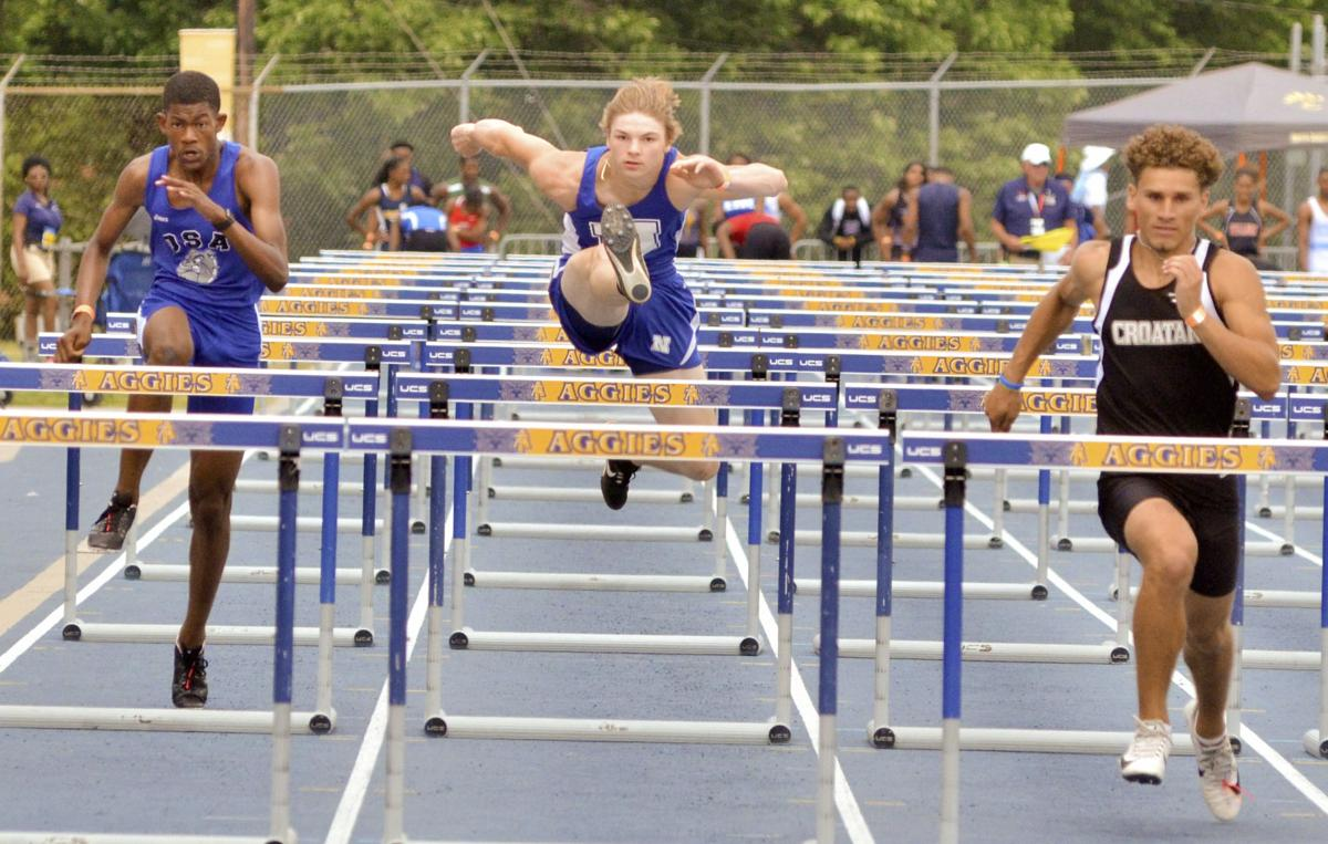 Hurdling in the finals