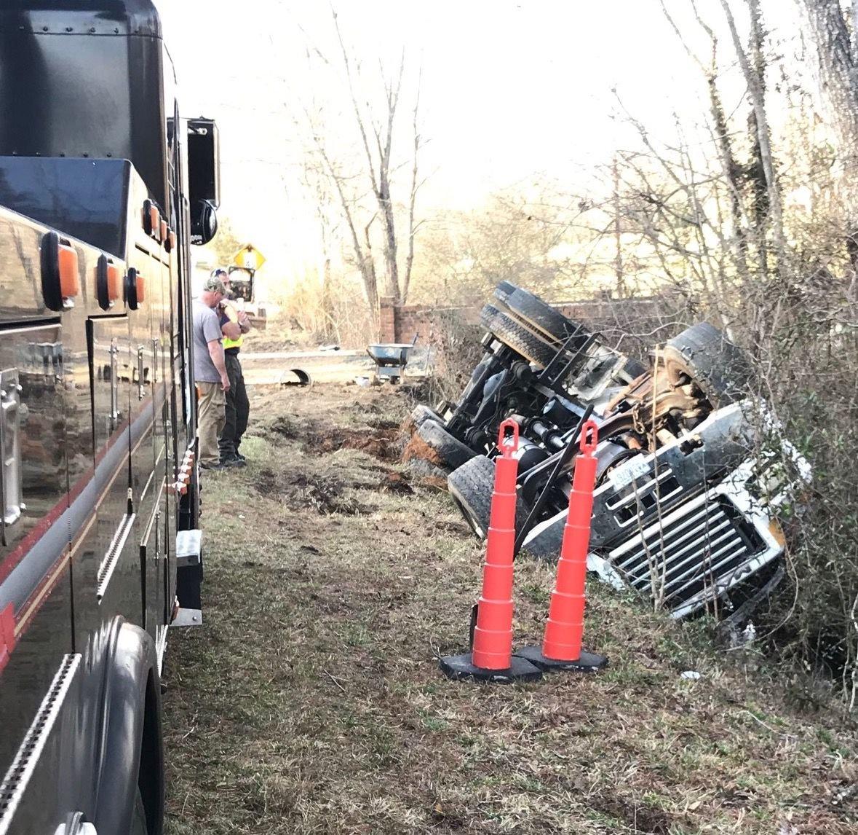 Overturned concrete truck