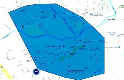 Outage area of Wilkesboro, North Wilkesboro
