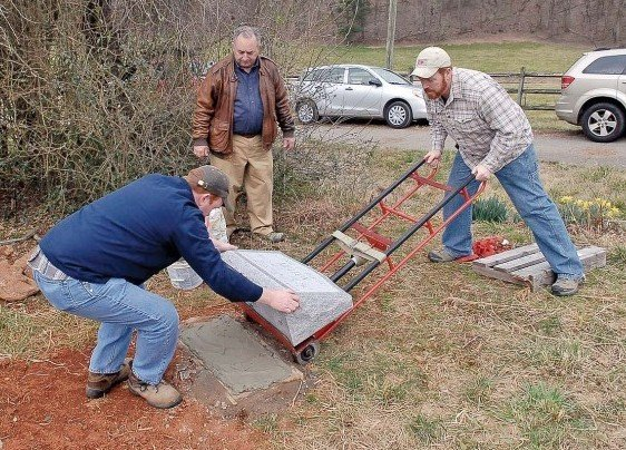 placing gravestone