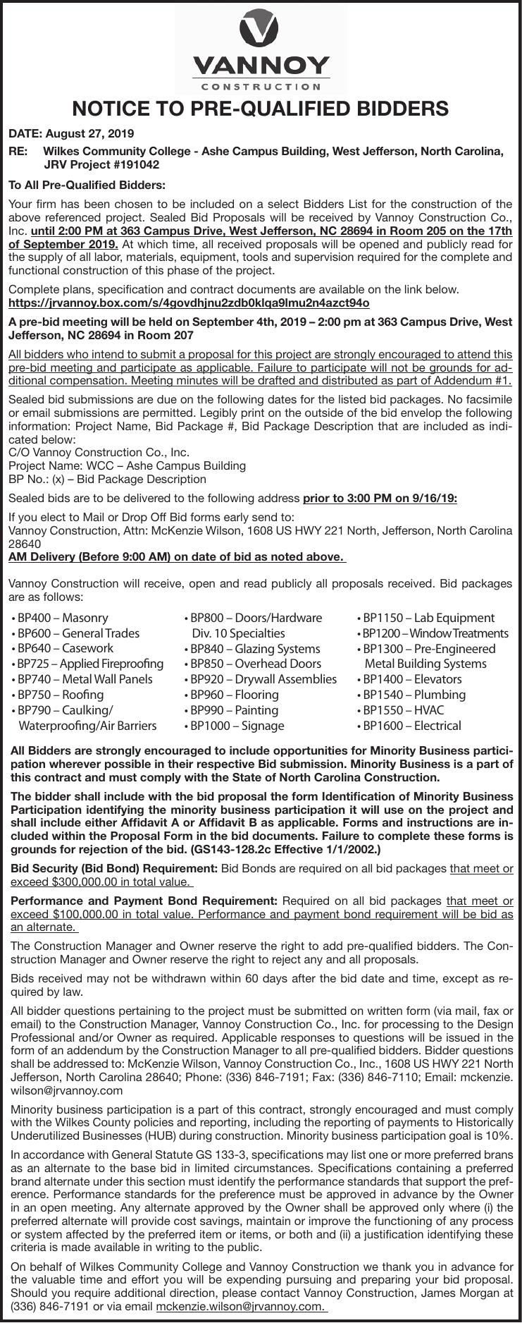 NOTICE TO PRE-QUALIFIED BIDDERS