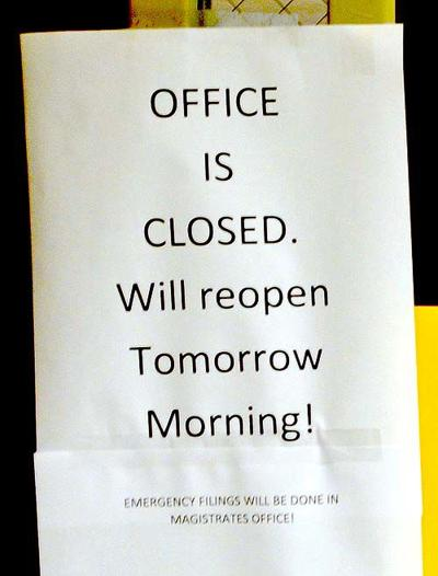 Clerk office closed sign