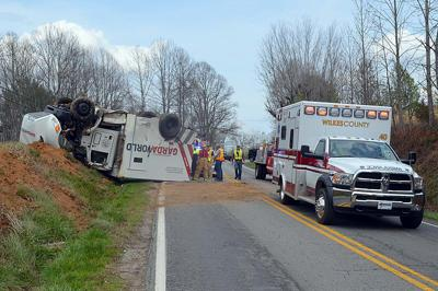 Armored car overturns Monday afternoon on N C  268 East