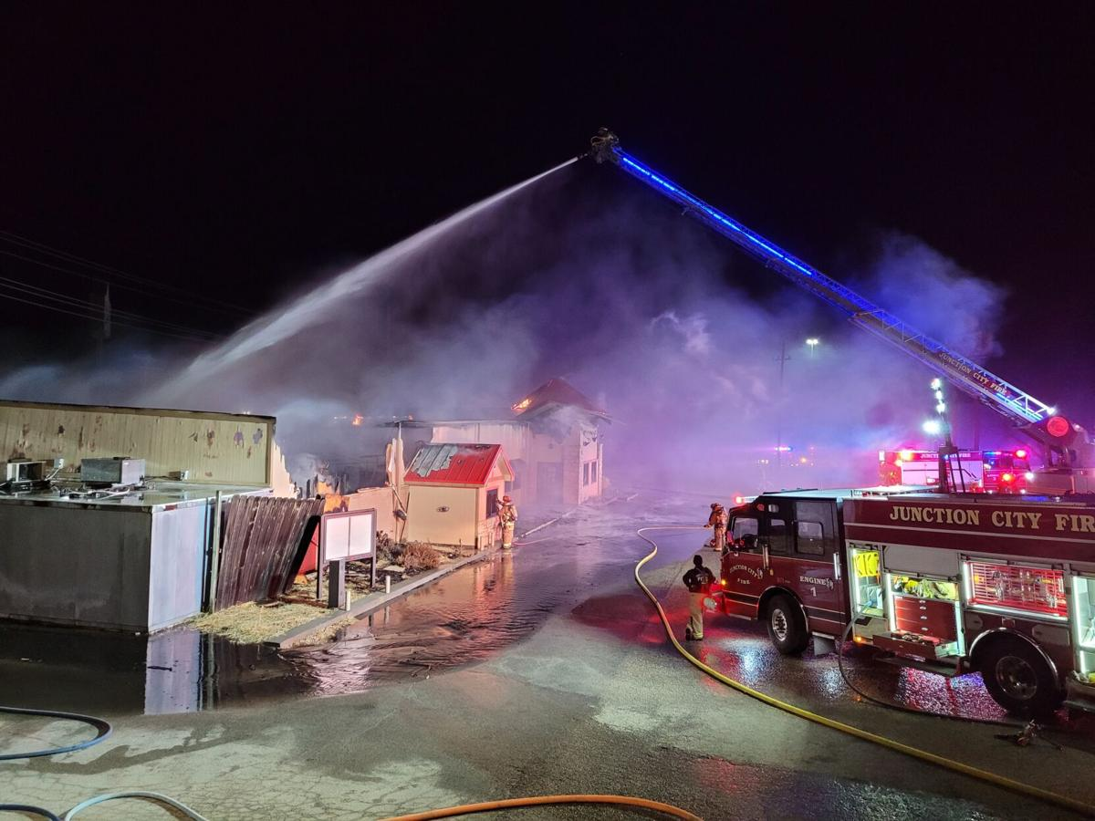 Munson's Prime fully engulfed in flames early Wednesday morning