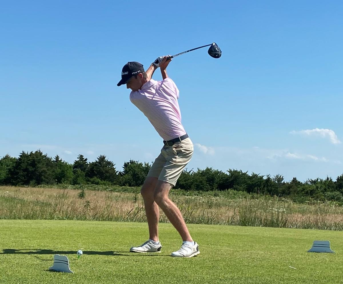 Cody Schurle goes into his backswing off the tee