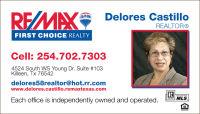 Delores Castillo Killeen Tx 254-702-7303 RE/MAX FIRST CHOICE