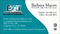 Barbara Macon 254-289-2121 Copperas Cove, Tx Exit Realty®