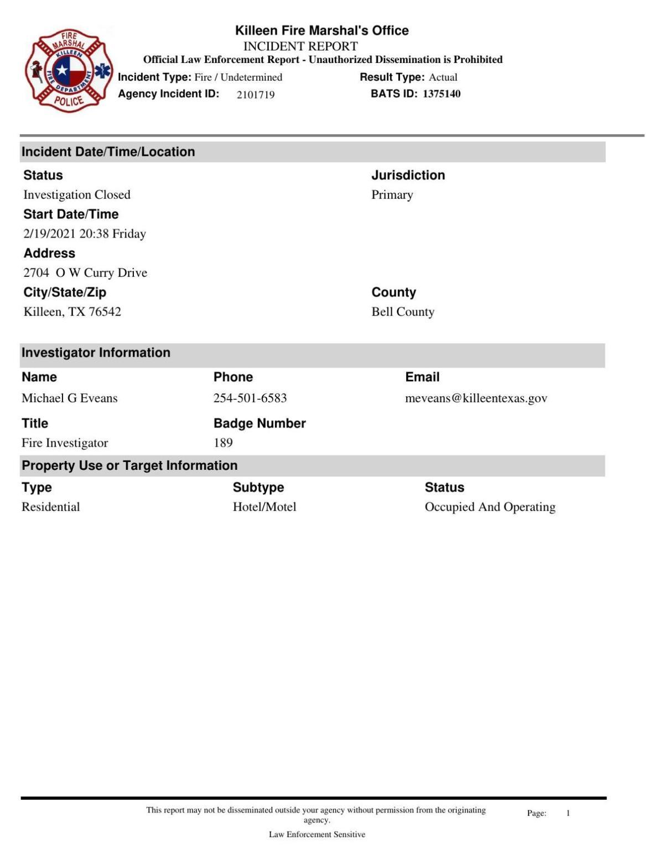 Hilton Garden Inn fire report