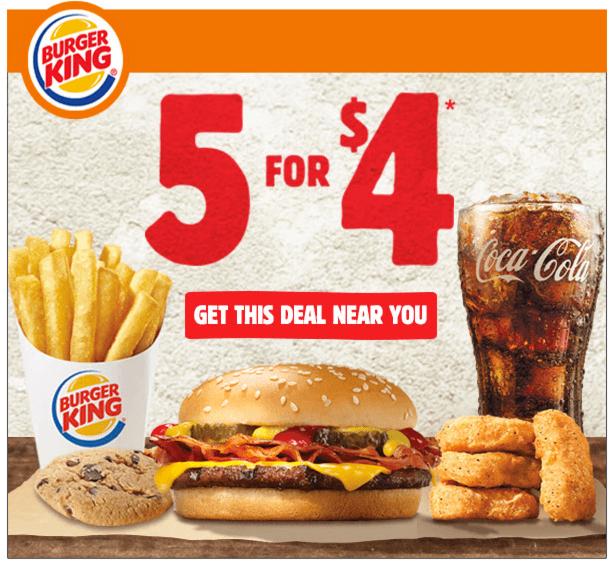 buy five for 4 from burger king save a lot mom. Black Bedroom Furniture Sets. Home Design Ideas