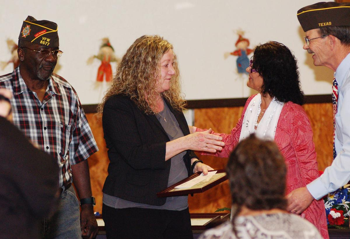 vfw honors teachers of the year essay student winners news carol mccutcheon hawkins center 11th and 12th grade teacher at copperas cove high school is congratulated by victoria duchateau for the teacher of the