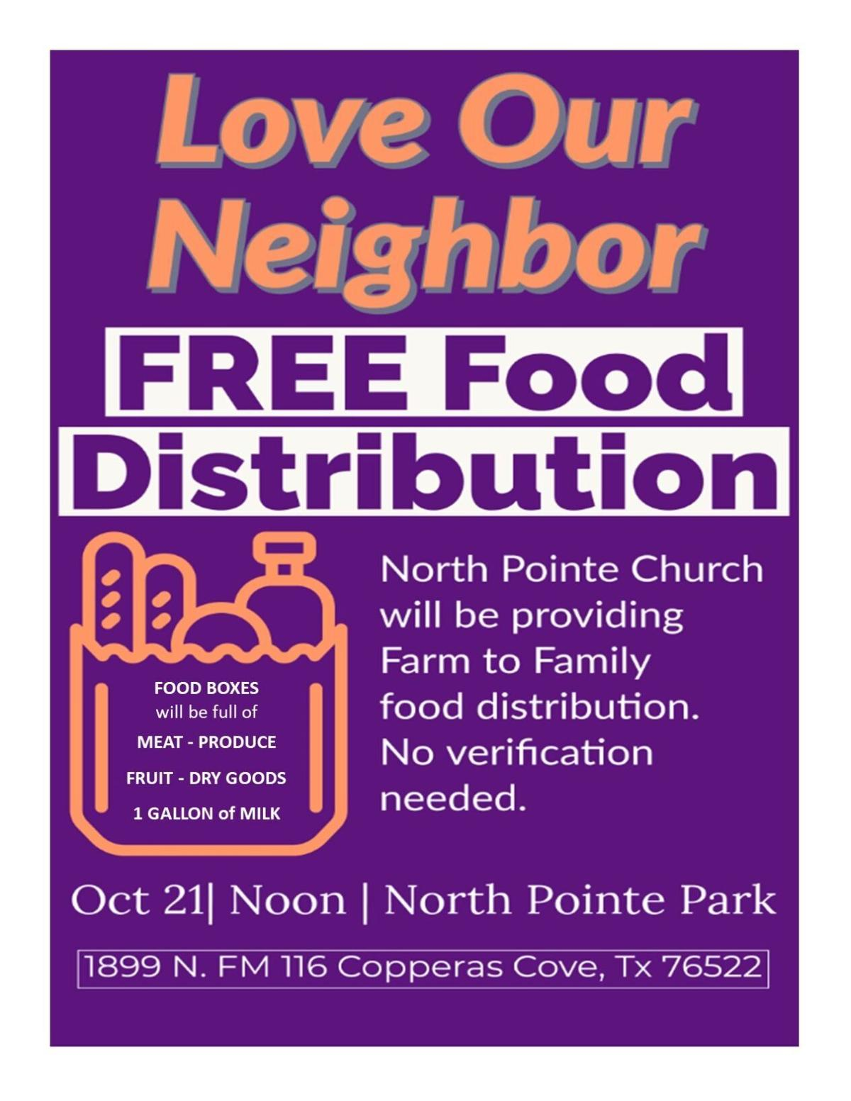 Cove church hosting free food distribution today