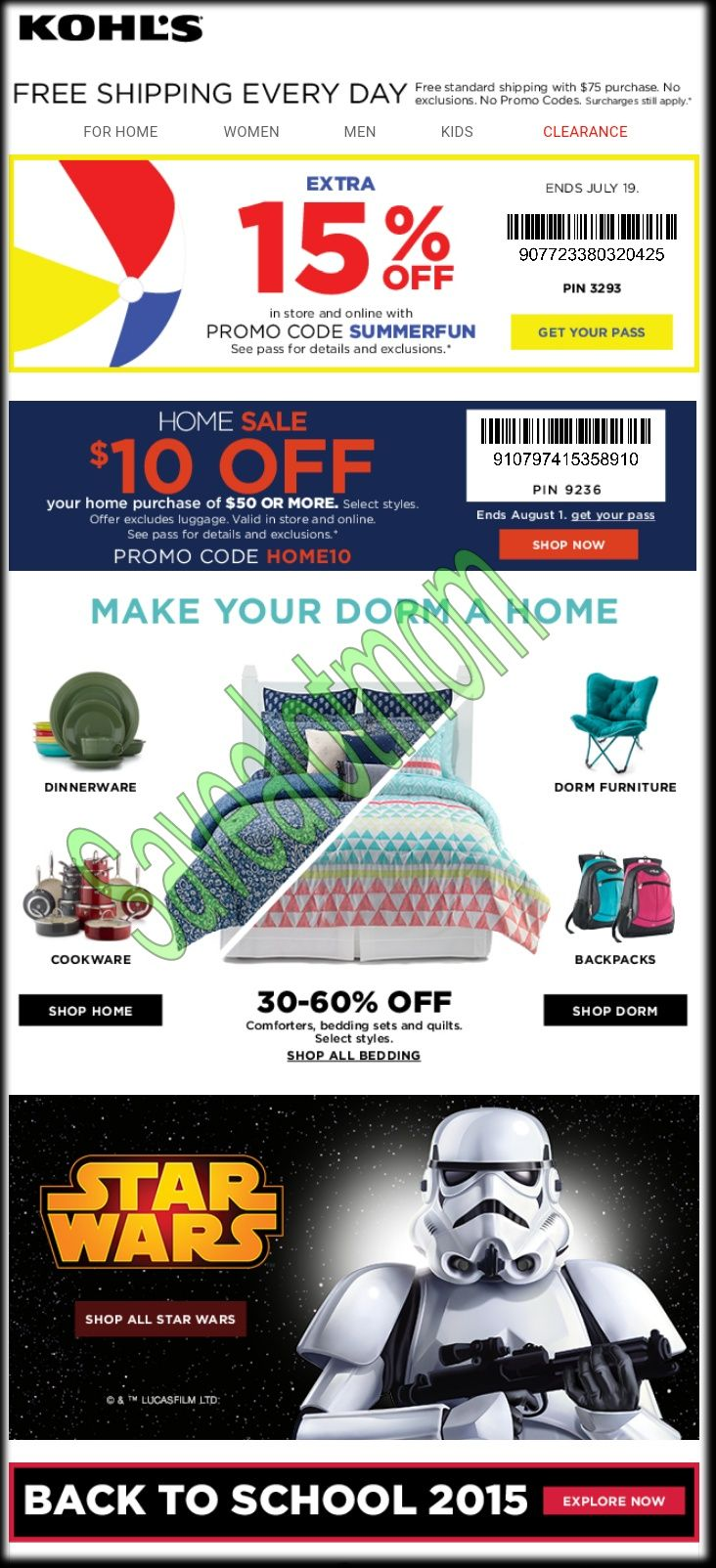 Kohls 15 off coupon and 10 off in home department for Garage appeal coupon code