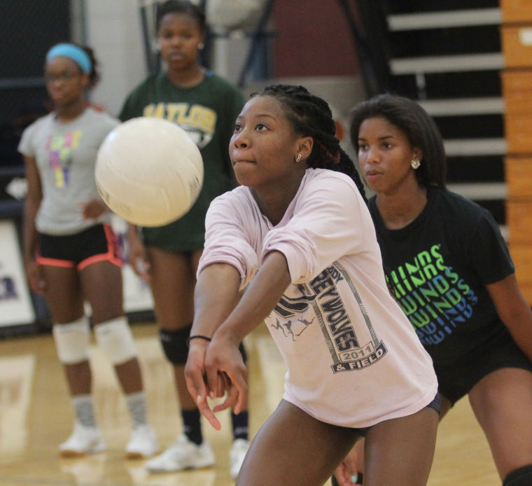 College Coaches Camp: Area Volleyball Campers Learning From College Coach