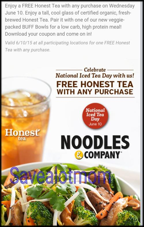 FREE Honest Tea from Noodles & Company!   Save A Lot Mom