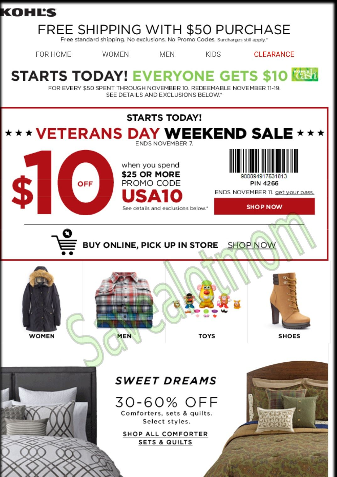 Veteran 39 s day sale and 10 off coupon at kohl 39 s save a for Garage appeal coupon code