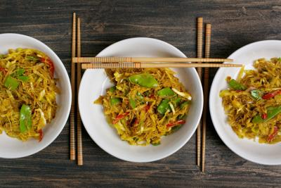 Curried Singapore Noodles With Stir-Fried Veggies