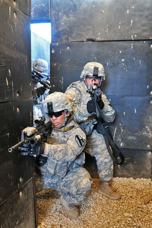 Cav Troops engage targets, clear rooms