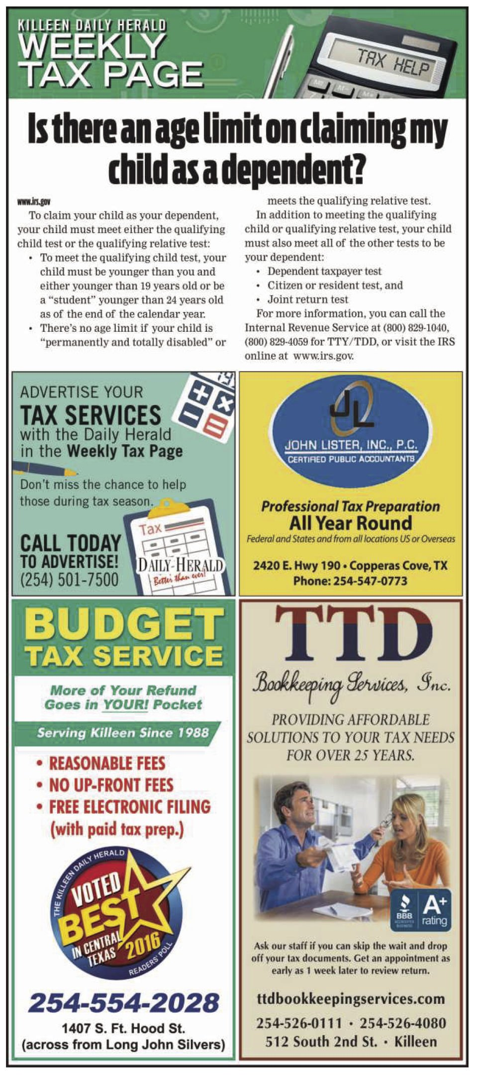 Weekly Tax Page Jan. 15th
