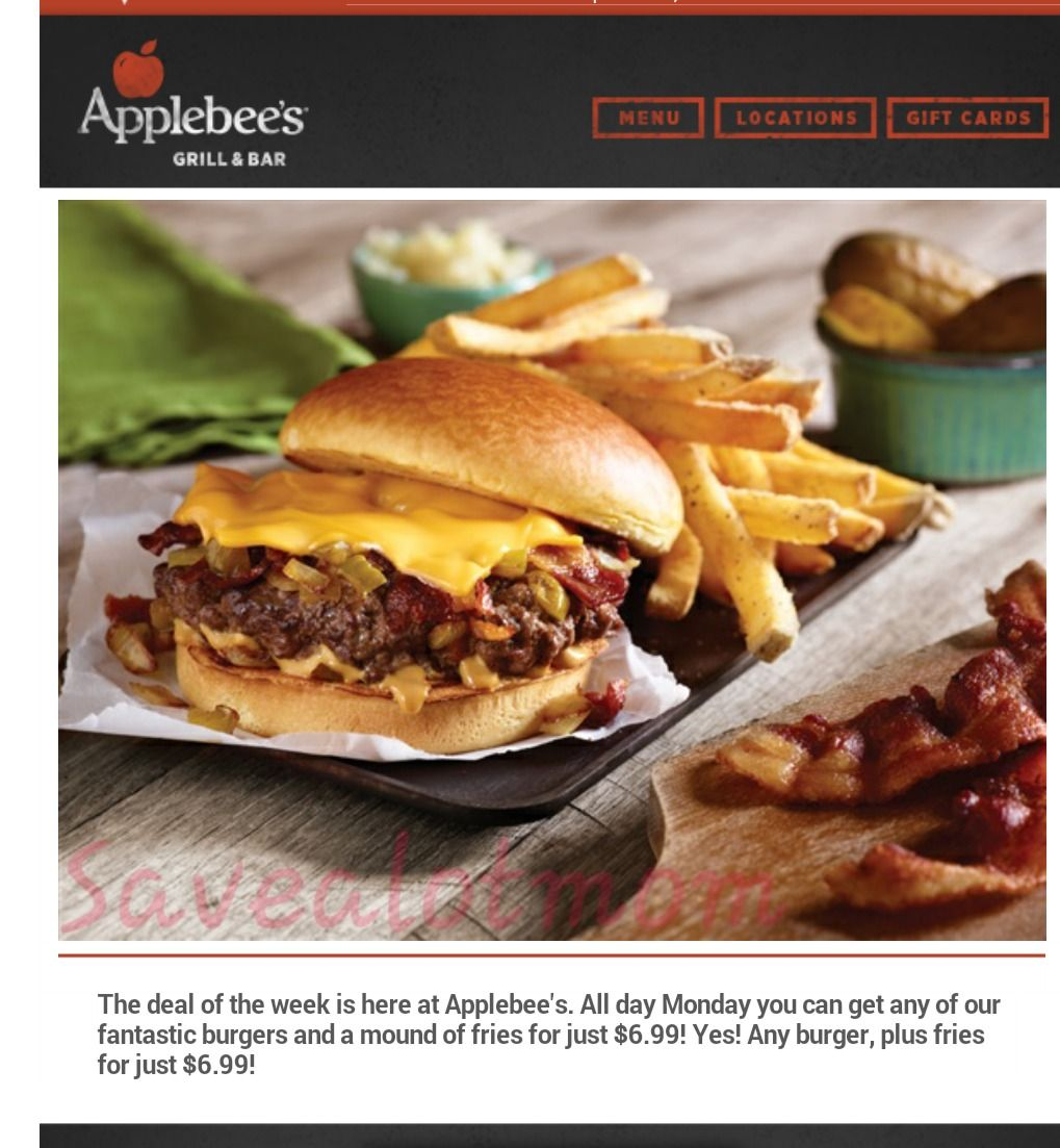 Applebees Burger & Fries Deal!