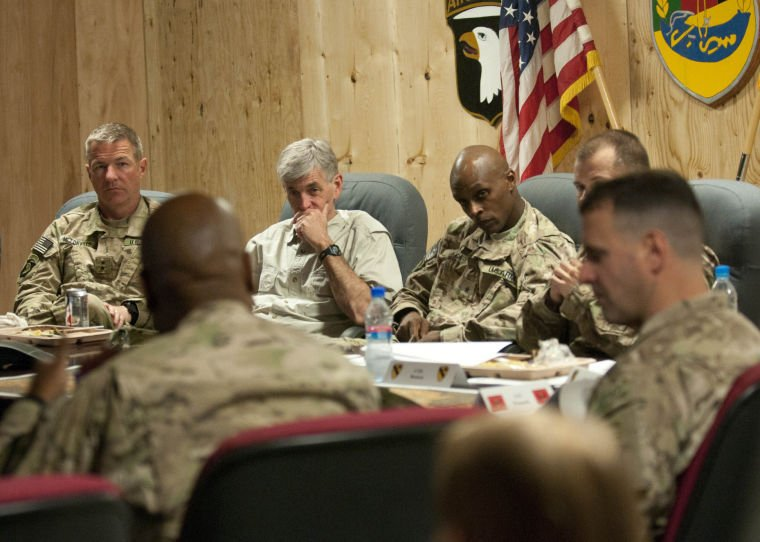 US Army secretary meets with Army leadership in Laghman province, Afghanistan