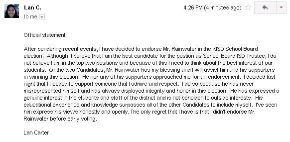 Statement by Lan Carter