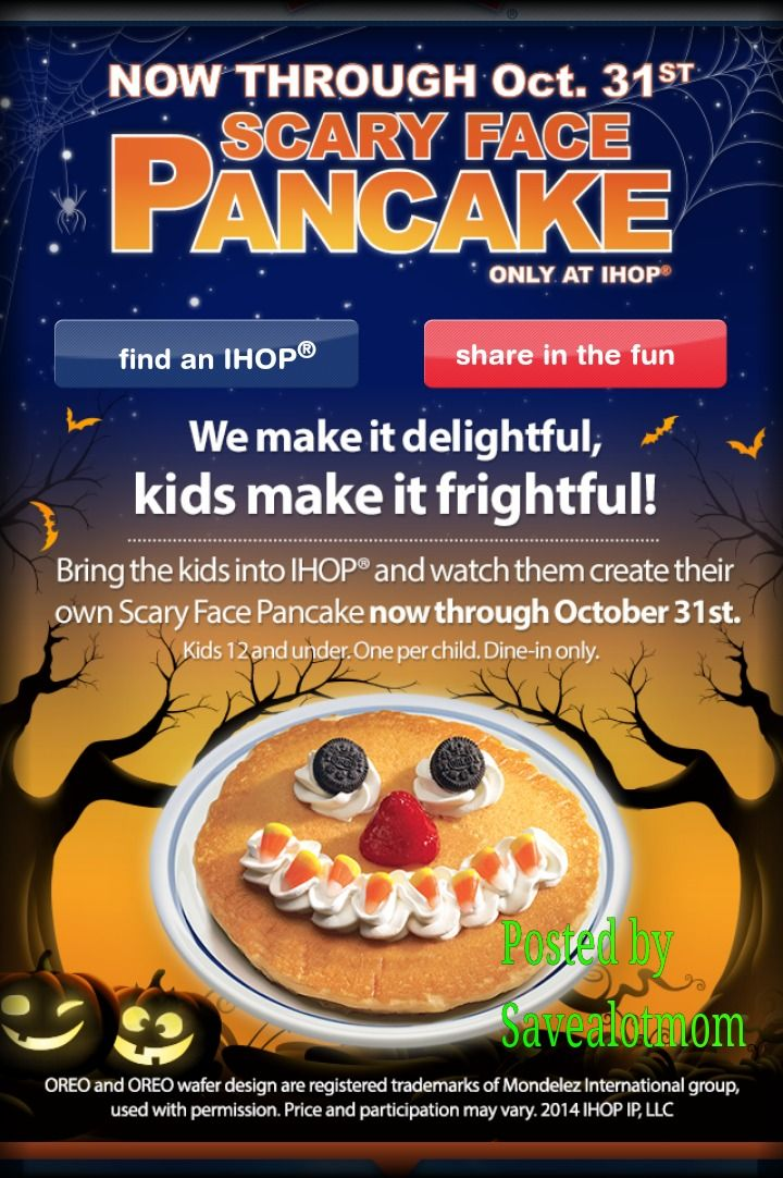 Free Pancakes From Ihop For Halloween Save A Lot Mom