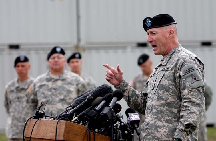 Lt. Gen. Robert Cone speaks during a press conference