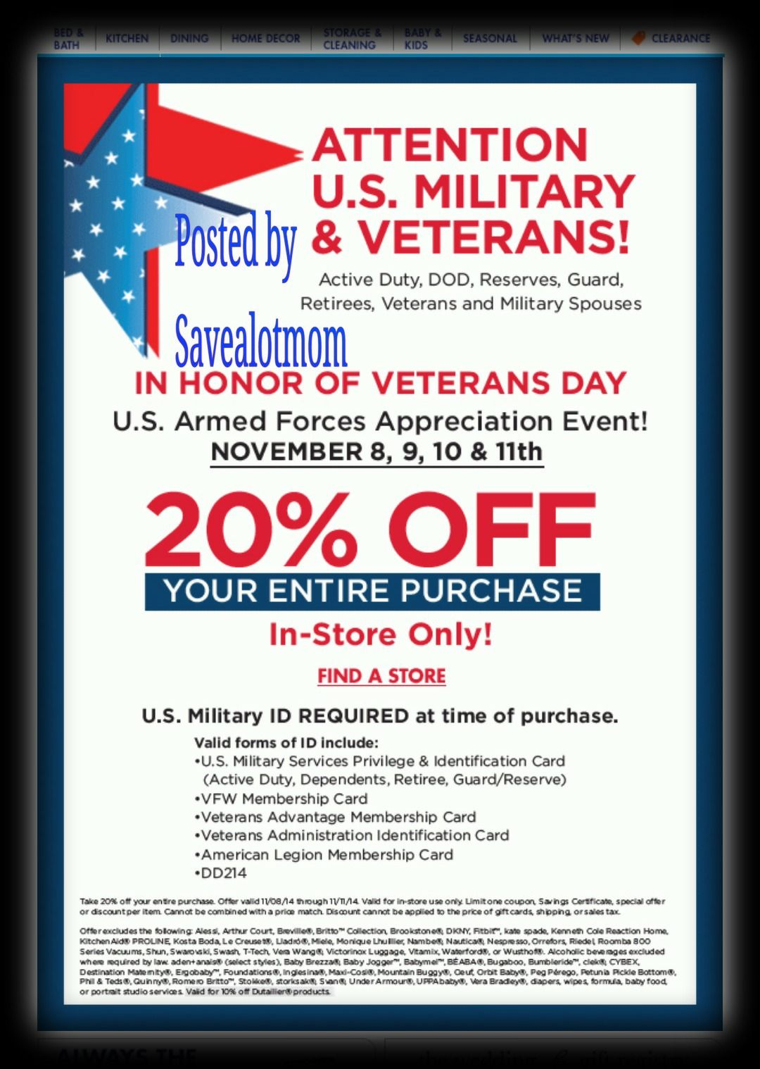 Bed Bath & Beyond Veterans Day Discount | Save A Lot Mom | kdhnews.com