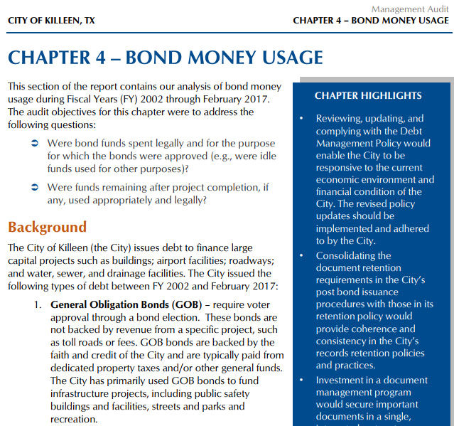 Bond money usage - management audit