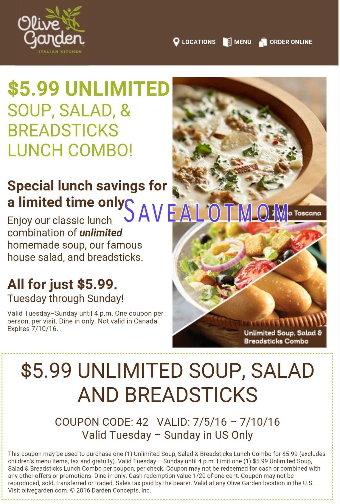 Olive Garden!$5.99 For UNLIMITED Soup, Salad And Breadsticks!