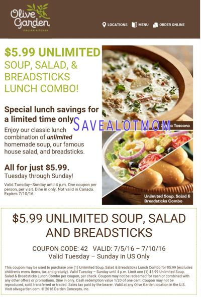 Olive Garden! $5.99 For UNLIMITED Soup, Salad And