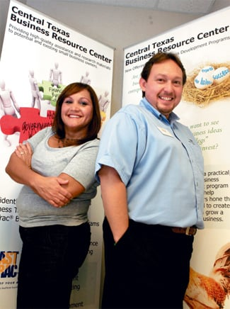 Central Texas Business Resource Center operators Marcus Carr and Diane Drussell share advice with local entrepreneurs through one-to-one counseling, classes, weekly seminars, conferences