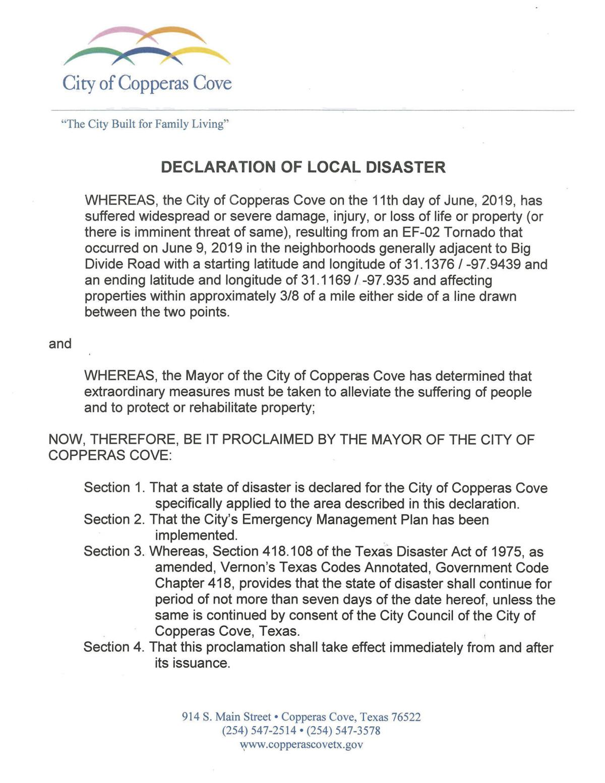 Cove disaster proclamation