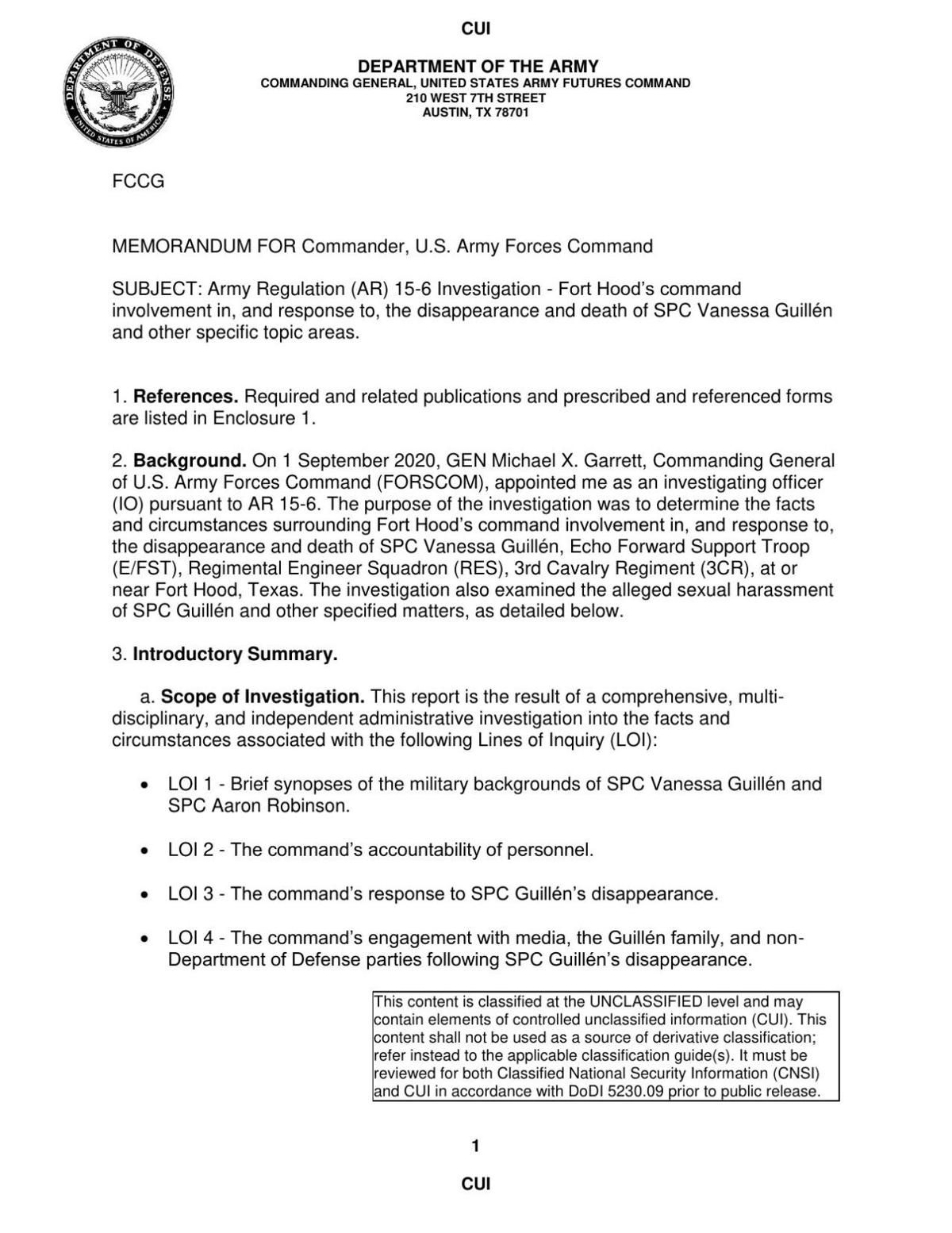 Guillen Fort Hood Investigation - Findings and Recommendations + CG Action Memo - Redacted_Redacted (29 Apr 21)