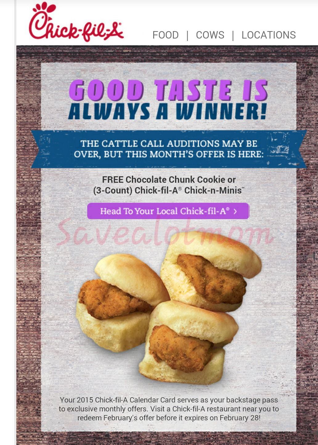 Chick Fil A Freebie!